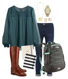 """""""School Goals- Fall Prep"""" by robramey17 ❤ liked on Polyvore featuring Frame Denim, H&M, Tory Burch, Kate Spade, MICHAEL Michael Kors and The North Face"""