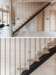 Black steel and light wood stairs lead to the upper floor of this modern house. Black steel and light wood stairs lead to the upper floor of this modern house. Steel Stairs Design, Home Stairs Design, Metal Stairs, Railing Design, Painted Stairs, Modern Stairs Design, Stair Handrail, Wood Railing, Railing Ideas