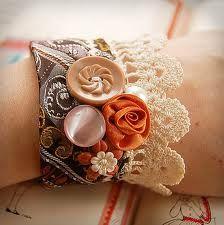 necktie, buttons & crochet lace -  bracelet