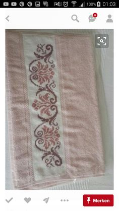 Towel with Violets Just Cross Stitch, Cross Stitch Bookmarks, Cross Stitch Needles, Cross Stitch Borders, Cross Stitch Flowers, Cross Stitch Designs, Cross Stitching, Cross Stitch Embroidery, Hand Embroidery