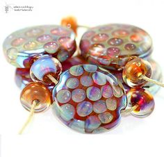 Lampwork Beads Honeycomb Kalypso Set  handmade by radiantmind