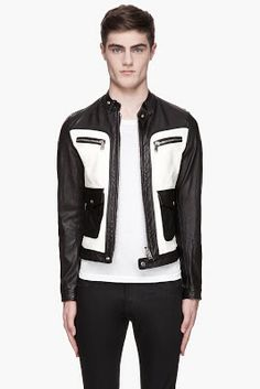 Dsquared2 Black And White Leather Biker Jacket
