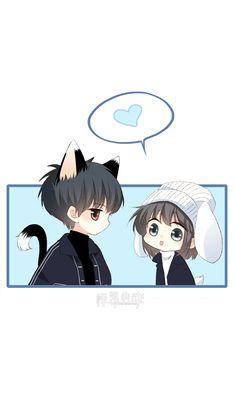 Cute Cartoon Drawings, Anime Couples Drawings, Anime Couples Manga, Cute Anime Couples, Fanarts Anime, Anime Chibi, Kawaii Anime, Manga Anime, Cute Chibi Couple
