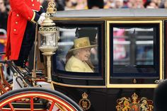 Queen Elizabeth II, accompanied by Prince Philip, The Duke of Edinburgh, leave Buckingham Palace for the Trooping the Colour ceremony at the Horse Guards Parade on June 16, 2012 in London, England. The annual ceremony, made up of more than 600 guardsmen and cavalry, is believed to have first been performed during the reign of King Charles II. The parade marked the official birthday of the Sovereign, even though the Queen's actual birthday is on April 21st.