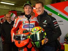 Valentino Rossi and Michael Schumacher...In my opinion the ABSOLUTE BEST TWO individuals that have ever raced anything with wheels!