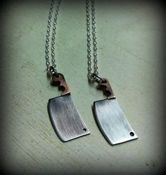 The Butcher. Mixed Metal Jewelry. Meat Cleaver Necklace. Mini Chef Knife. Small…