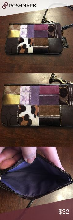 Coach patchwork wristlet Coach  wristlet never used patchwork design simply fabulous!  Perfect as a wallet to throw In Your tote or to use for your night out on the town.  Suede and leather Coach Bags Clutches & Wristlets