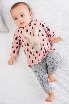 Pink Print Bunny Top And Leggings Set (0mths-2yrs)Pink/Grey Dreamer Socks Three Pack (Younger Girls)
