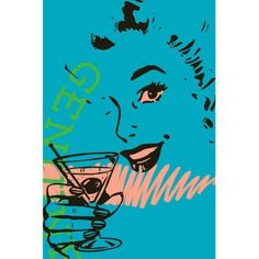 Marmont Hill Girl Drink 2 inch Print on Canvas, Size: 24 inch x 36 inch, Multicolor