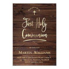 brown wood background   First Communion Invitation   Zazzle.com