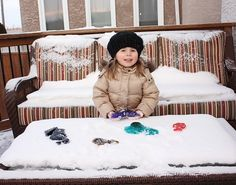 Make fun colored frozen things, then hide them in the snow for kids to find scavenger-hunt style. Head inside and paint with them while they melt and you thaw!