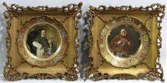 PAIR OF GOLD FRAMED DRESDEN PLATES, FRIARS : Lot 267