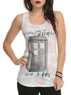 Doctor Who Madman Floral Girls Tank Top | Hot Topic. I have this top and it is so comfortable
