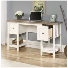 Features:  -Drawers with full extension slides feature patented T-slot .  -File drawer holds letter-size hanging files.  -Finished on all sides for versatile placement.  -Quick and easy assembly with