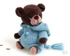 Cute amigurumi teddy bear toy Ludvig, crochet stuffed plush bear animal with clothes Crochet Teddy, Crochet Dolls, Teddy Bear Toys, Teddy Bears, Gnome Hat, Alpaca Wool, Plush Animals, Bear Animal, Cotton Thread