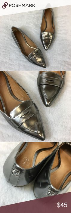 Coach Tabitha Silver Loafers The loafer for fall! Silver in color. Mild signs of wear but overall good condition! Coach Shoes Flats & Loafers