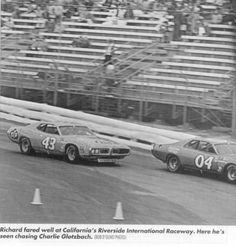Richard Petty chases Herschel McGriff in another Petty Dodge @ the 1974 Winston Western 500 at Riverside Raceway
