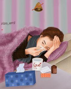 Feeling sick should be this beautiful Cartoon Girl Images, Girl Cartoon, Cute Cartoon, Cartoon Art, Sick Drawings, Girly Drawings, Girly M, Sarra Art, Lovely Girl Image