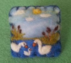 Needle felted brooch, handmade unique gift -swans