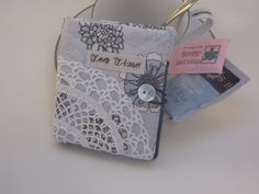 Unique Valentine's Day gift paired with a box of favorite tea.  Elegant Misty Blue floral tea wallet by MyPetitBisous on Etsy