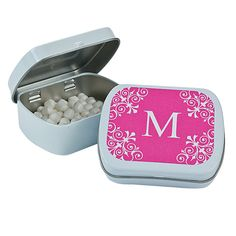 Personalized Hot Pink Monogram Mint Tins - OrientalTrading.com