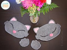 May your Valentine's Day will be pu-rrr-fect! Kitty-Cat placemats are made using our Sassy Kitty Heart Rug Pattern with some minor changes - just use a single strand of worsted weight yarn & hook 5 mm (H) --> https://irarott.com/Kitty_Cat_Heart_Rug_Crochet_Pattern.html