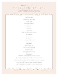 High Tea Menu - MustHaveMenus