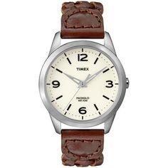 Timex Ladies Weekender Brown Leather Watch Indiglo 30 Meter WR T2N644   eBay