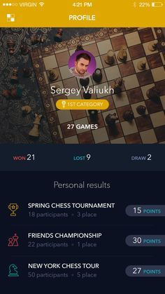 Chess app profile
