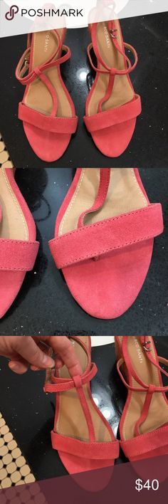NWOT Sandals. Pink suede. Adjustable strap. Strap goes between your toes shown in last pick. Wedge rope heels. Heel height is 3 inches. Brand new condition. Never worn. Marco Santi Shoes