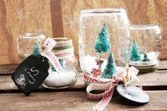 DIY Holiday Snow Globe and Terrariums Diy Snow Globe, Snow Globes, Creative Director, Glass Jars, Elves, Christmas Stockings, Snowflakes, Shabby, Xmas