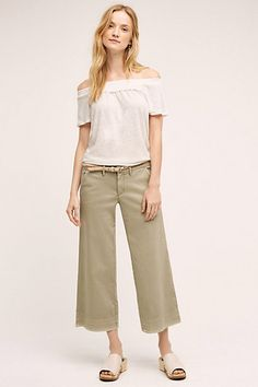 Pilcro Cropped Mid-Rise Wide-Leg Chinos #anthropologie