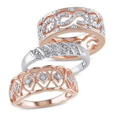 Miadora 2-Tone White and Rose Plated Sterling Silver 1/3ct TDW Vintage 3-Piece Anniversary Band Set (G-H, I2-I3) (Size 10), Women's, Pink
