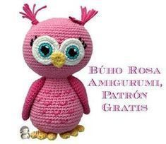 Búho amigurumi patrón gratis Crochet Birds, Love Crochet, Crochet Animals, Crochet Baby, Crochet Amigurumi Free Patterns, Knitting Patterns, Knitted Dolls, Free Knitting, Crochet Projects