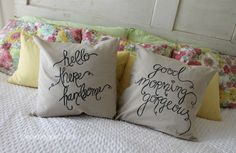 Sentiment pillows made with a Sharpie! Love these for a bride and groom! Perfect DIY wedding or shower gift