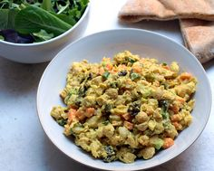 Curried Chickpea Salad - added half a mango and grilled chicken.