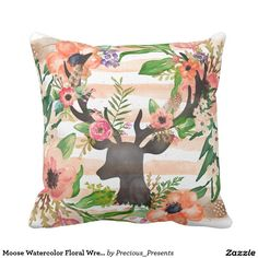 Moose Watercolor Floral Wreath Pattern Throw Pillow