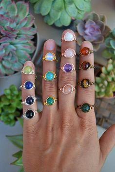 beaded ring black jewelry hematite seed beads Hematite bead ring solitaire feminine jewel little ring round