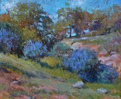 Lupines in a field, California Spring, Debra Holladay, 9x12 Oil on Board