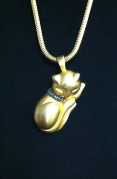 JJ Sleeping Cat Pendant with Chain by vintagerepublic1 on Etsy, $20.00