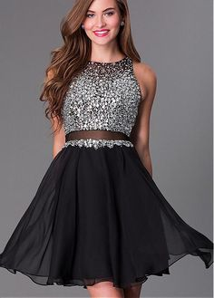 Elegant Tulle & Chiffon High Collar Neckline A-line Homecoming Dresses with Beadings & Rhinestones