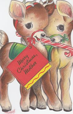 A darling vintage Christmas card for a special mother. #vintage #Christmas #holidays #cards