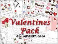 Free Valentines Pack for ages 2 to 8. Over 160 pages of activities to go with the book There Was an Old Lady Who Swallowed a Rose. - 3Dinosaurs.com