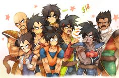 DBZ Bunch of Saiyans / Nappa / Vegeta / Raditz / Goku / Bardock / Brolly / Tarus / and Brolly's Dad http://www.pixiv.net/member_illust.php?mode=medium&illust_id=38830215