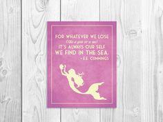 Mermaid Art Print, EE Cummings Quote Poster, Mermaid Nursery Sign, Mermaid Girl Art 8 x 10