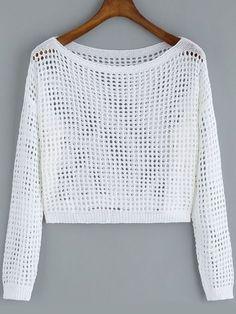 Negozio Crop maglia traforata bianca on-line. SheIn offre Crop maglia traforata bianca