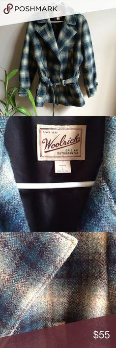 Blue Plaid Wool Coat Very good condition. Has belt. Woolrich Jackets & Coats Pea Coats
