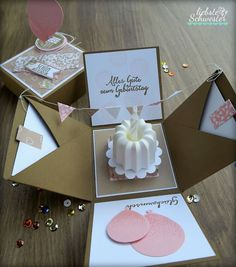 Up Box a nice surprise - dearest sister: Pop Up Box a nice surprise for your birthday, Stampin`UP! made of paper -Pop Up Box a nice surprise - dearest sister: Pop Up Box a nice surprise for your birthday, Stampin`UP! Birthday Box, Birthday Presents, It's Your Birthday, Birthday Cards, Birthday Basket, Diy Birthday Gifts For Sister, Birthday Present Diy, Happy Birthday, Women Birthday