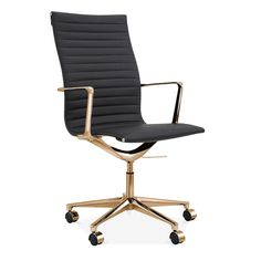 Cult Living Ribbed Office Chair with High Back - Black / Gold