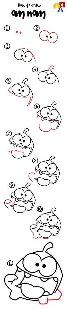 How To Draw Om Nom From Cut The Rope - Art For Kids Hub -